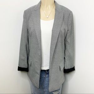 H&M Black & White Lined Open Front Blazer Size 8
